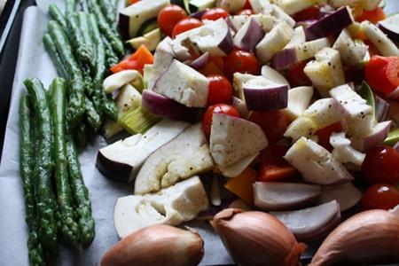 Grönsakerna innan ugnen